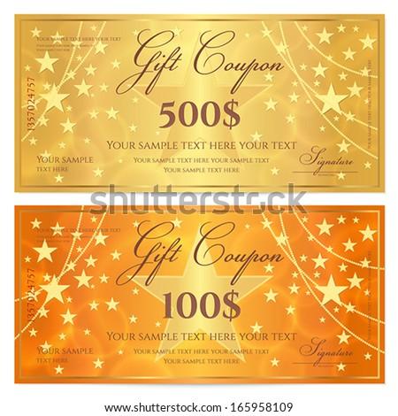 Gift Certificate Voucher Coupon Template Stars Vector – Money Voucher Template