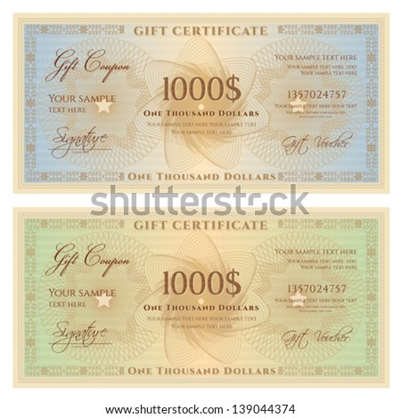 Gift certificate / Voucher template with guilloche pattern (watermarks) and border. Background for coupon, banknote, money design, currency, note, check etc.  Vector in vintage colors (green,blue) - stock vector