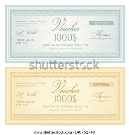 Gift certificate / Voucher template with guilloche pattern (watermarks) and border. Background for coupon, banknote, money design, currency, note, check, ticket etc.  Vector in vintage colors - stock vector