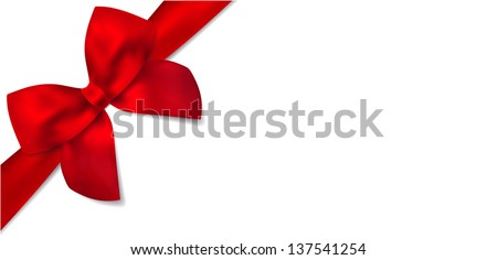 Gift certificate with isolated diagonally red bow (ribbons). Design  for voucher, coupon, invitation, Christmas card for any celebrations (birthday, mothers day). Vector on white background - stock vector