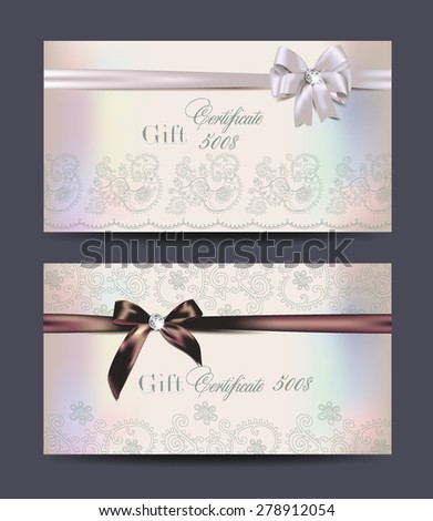 Gift certificates with floral design and silk ribbons - stock vector