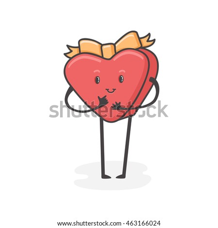 gift cheerful cute character. Vector greeting illustration