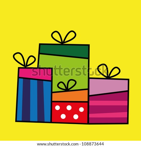 Gift collection, ideal for birthday card, gift card and christmas card - stock vector