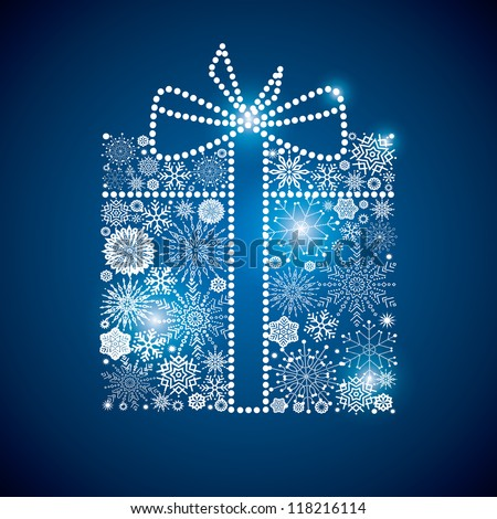gift consisting of a scattering of scintillating shining snowflakes - stock vector
