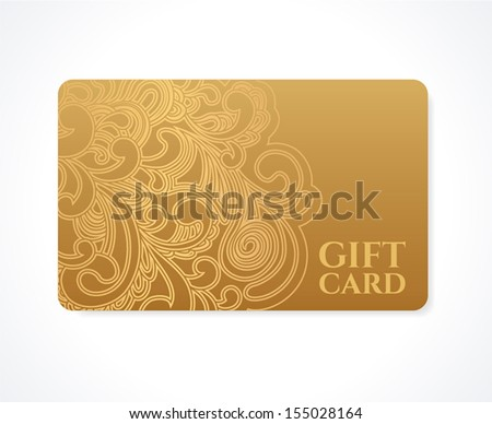 Gift coupon, gift card (discount card, business card) with floral (scroll, swirl) gold swirl pattern (tracery). Background design for calling card, voucher, invitation, ticket etc. Vector - stock vector