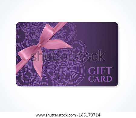 Gift coupon, gift card (discount card, business card) with floral (scroll, swirl) violet swirl pattern (tracery), bow (ribbon). Holiday background design for invitation, ticket. Vector - stock vector