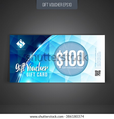 Gift coupon, gift card, discount card, business card, with modern abstract pattern. Vector gift voucher - stock vector