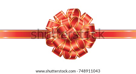 Gift decoration. Red ribbon - stock vector
