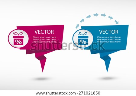 Gift discount box on origami paper speech bubble or web banner, prints. Vector illustration - stock vector