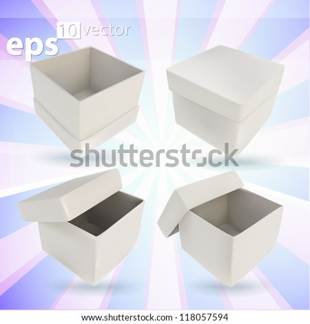 Gift empty boxes, et of four parallelogram cube shaped glossy copyspace white giftboxes, eps10 vector - stock vector
