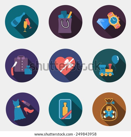 Gift flat circle colorful shop icons with shadow - stock vector