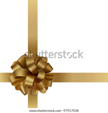 Gift gold bow with a ribbon on white background