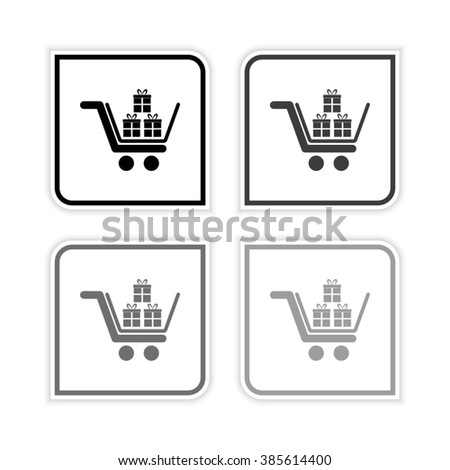 Gift  - grayscale vector icon - stock vector