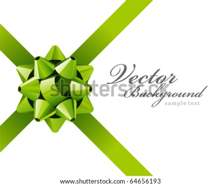 Gift green bow vector background - stock vector