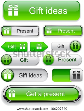 Gift green web buttons for website or app. Vector eps10. - stock vector