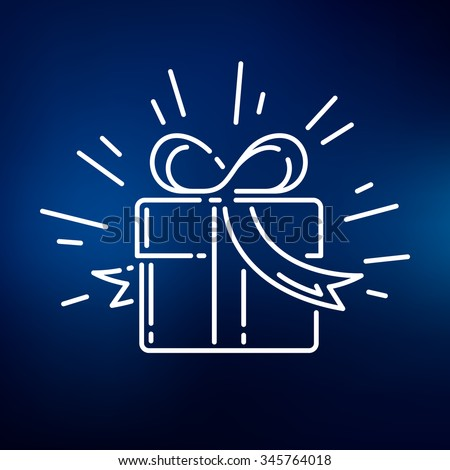Gift icon. Box sign. Present symbol. Thin line icon on blue background. Vector illustration. - stock vector