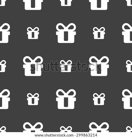 gift icon sign. Seamless pattern on a gray background. Vector illustration - stock vector