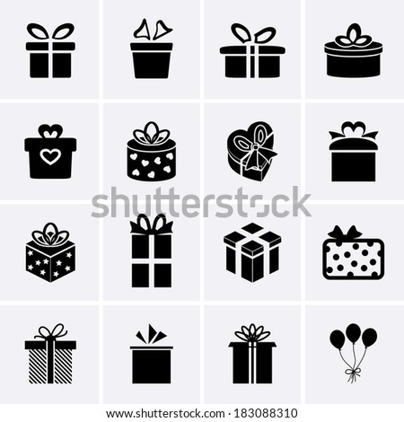 Gift Icons - stock vector