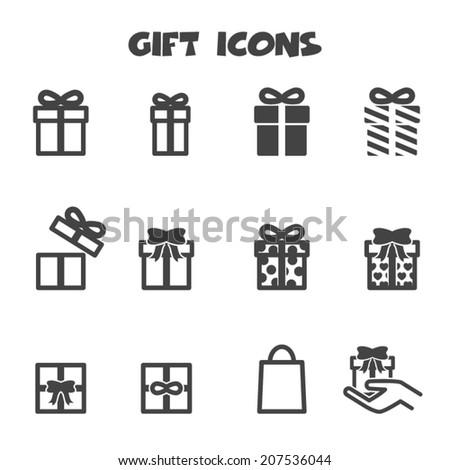 gift icons, mono vector symbols - stock vector