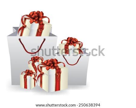 Gift in a shopping bag - stock vector