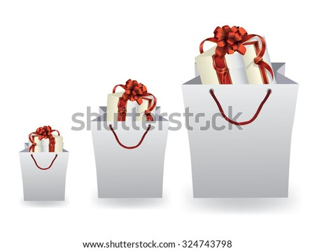 Gift in a shopping bag - stock vector