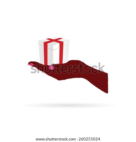 gift in hand color vector - stock vector