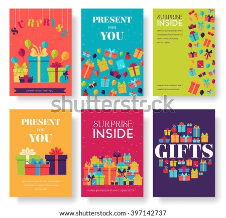 Gifts vector banners set. Gifts icons. Gifts posters. Gifts booklet. Gifts flyer. Flat Gifts brochure with typography. Gifts invitation. Gifts cards. Gifts mock up. Gifts image. Gifts logo. Gifts set - stock vector