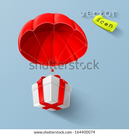 Gift on parachute icon - stock vector