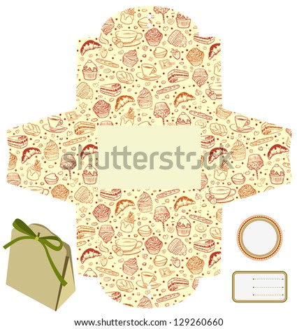 Gift or product packaging box. Isolated. Cupcakes, candies, coffee pattern. Empty label. Template. - stock vector