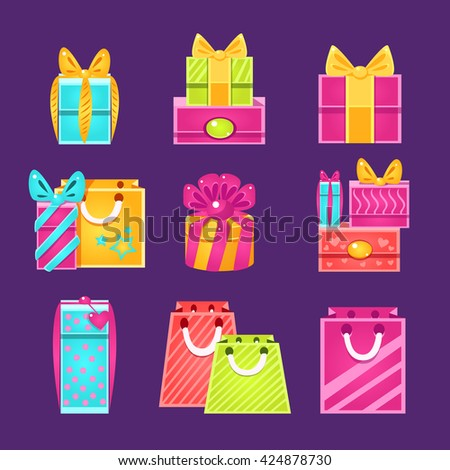 Gift Packages Set Of Flat Simple Bright Color Design Vector Drawings Isolated On Dark Background