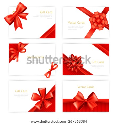 Gift paper cards set with red silk ribbon decoration isolated vector illustration