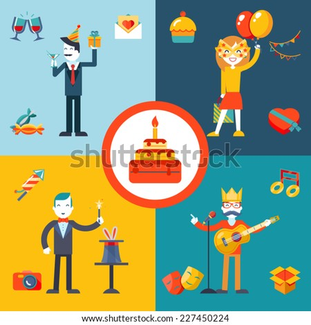 Gift, Party, Birthday Businessman character concept icons set modern trendy flat vector illustration - stock vector