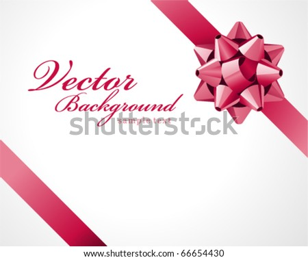 Gift pink bow vector background - stock vector