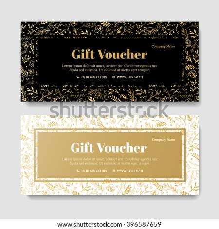Gift premium voucher coupon template golden stock vector for Cosmetology certificate template