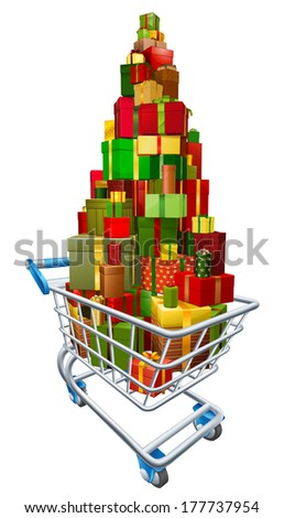 Gift present trolley shopping cart full of a big stack of wrapped gifts