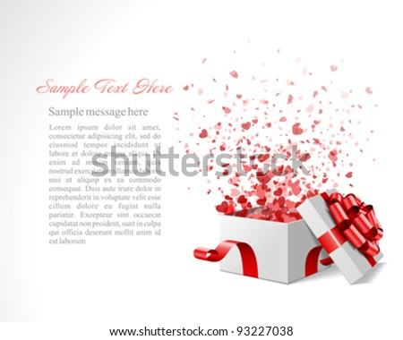 Gift present with confetti hearts Valentine's day vector background eps 10 - stock vector