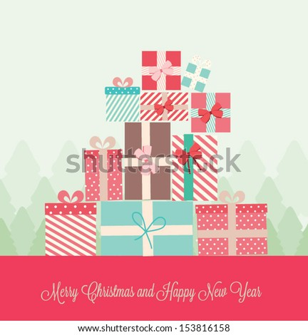 Gift presents with ribbon.  Christmas and New year card. Vector illustration - stock vector