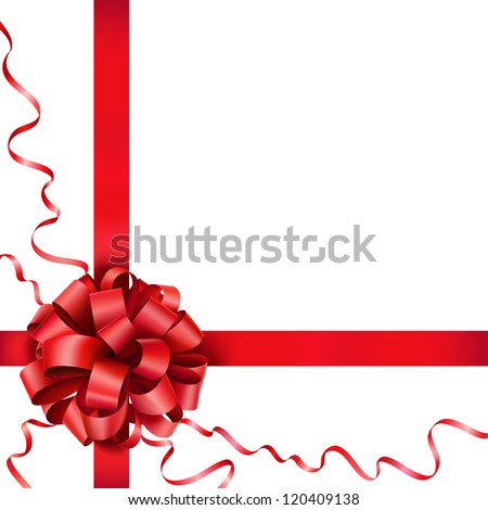 Gift red bow with a ribbon on white background - stock vector
