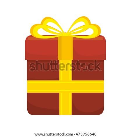 Gift Red Box Yellow Ribbon Vector Stock Vector 473958640 Shutterstock