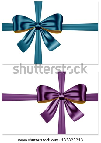 Gift ribbon bows for festive decorations. Gift cards. Vector illustration