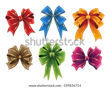 Gift ribbon bows of different colors isolated on white background