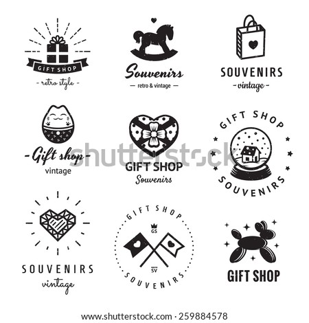 Gift shop and souvenirs logo vintage vector set. Hipster and retro style. Perfect for your business design. - stock vector