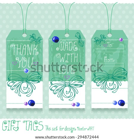 Gift tags set for design. Vector art. - stock vector