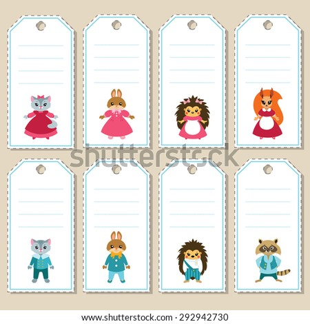 Gift tags with cute cartoon dressed up animals: cats, rabbits, hedgehogs, squirrel and raccoon. Some blank space for your text included. - stock vector