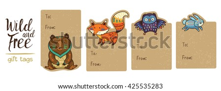 Gift tags with cute forest cartoon animals. Set of 4 printable hand drawn holiday label with bear, fox, owl and rabbit. Vector illustration