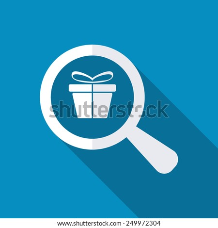 Gift under magnifying glass on blue background. Modern design flat style icon with long shadow effect - stock vector