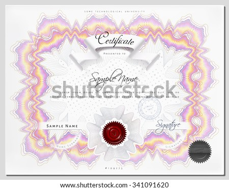 Gift vintage certificate / diploma / award template with protective macrame figure and elements in vector - stock vector