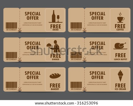 Gift Voucher Certificate Coupon, Food Menu And Business Card, Tags Element  Template. Can  Free Lunch Coupon Template