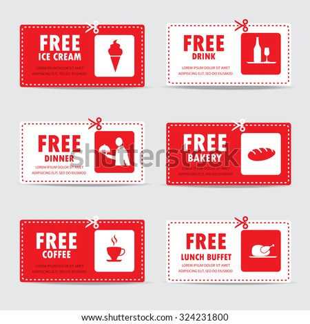 Gift Voucher Certificate Coupon, Food Menu And Business Card, Tags Element  Template. Can
