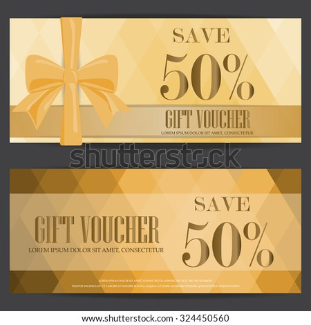 gift voucher certificate coupon template,gold luxury and premium style design . can be use for business shopping card, customer sale and promotion, layout, banner, web design. vector - stock vector